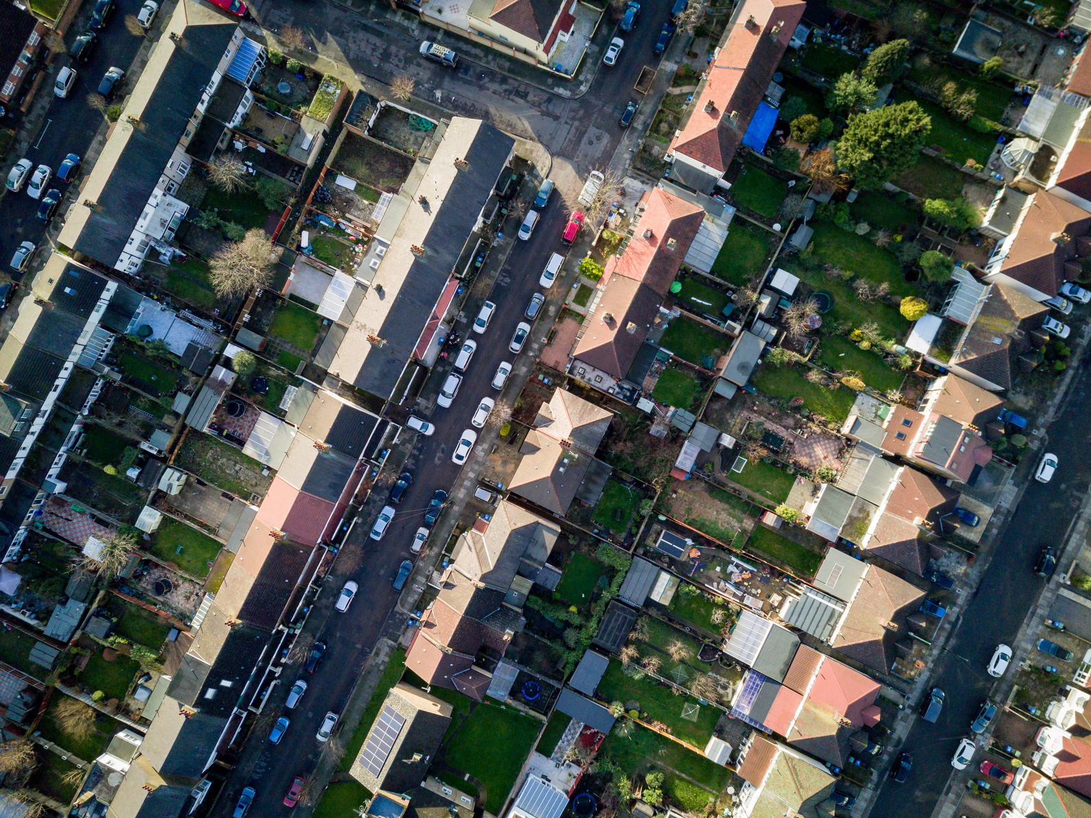 Aerial view english town