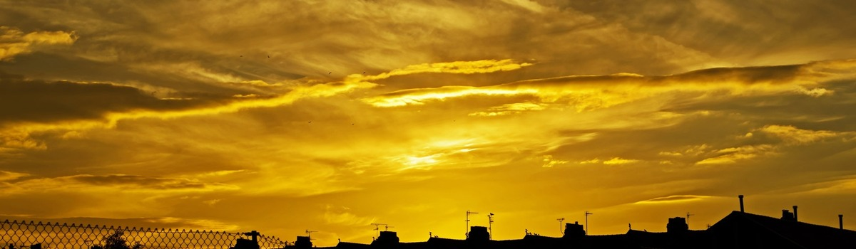 Short banner sunset background houses