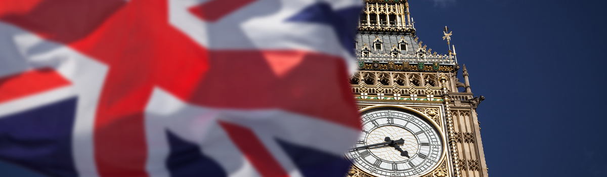 Short banner british flag big ben